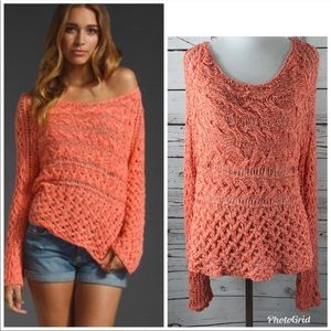 Free People •Marigold Hot Salmon Sweater•Medium